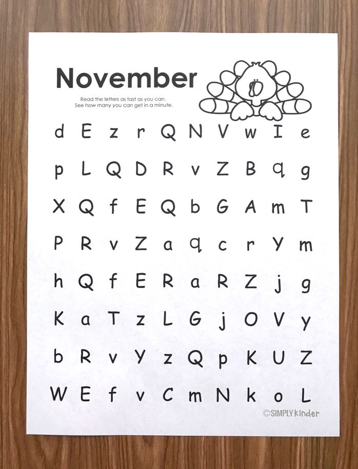 Free letter naming fluency practice pages from Simply Kinder. (November edition).