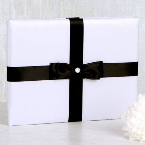 White Wedding Guest Book With Black Bow 6 1 4in X 8 Card BoxesWedding