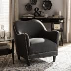 Seibert Traditional Dark Gray Fabric Upholstered Accent Chair