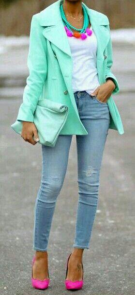 Mint green blazer, pink heels, & colorful accessories.