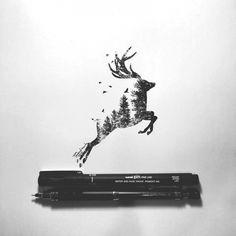 wildlife,illustration,dessin,artwork,animaux,double exposure,double exposition,pointillé,stippling