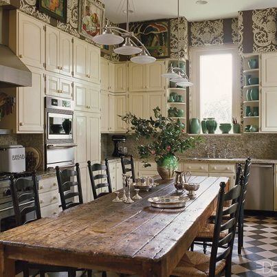 """country kitchen .. """" that table!!!!"""