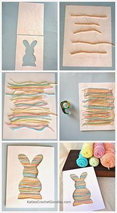 lapin collage ( laine, bandes de papier, ou même graphisme multicolore ) très rapide à mettre en oeuvre