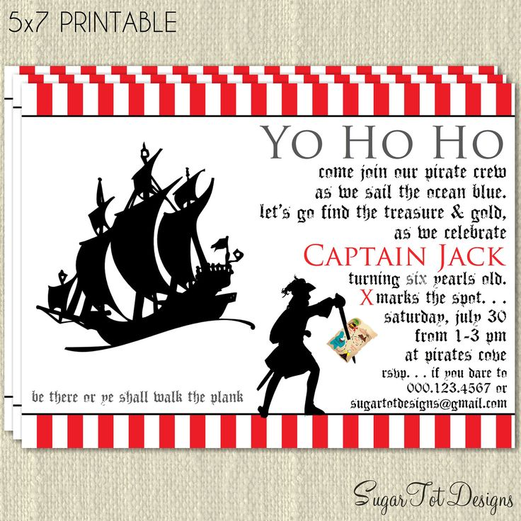 Pirate Invitation, Pirate Birthday Party Invitation, Hidden ...