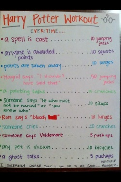 Love this idea - Harry Potter workout. A play off the drinking