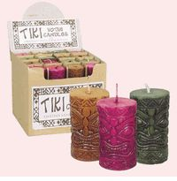 Retro Home Decor - Tiki Votive Candles in Pink, Brown or Green