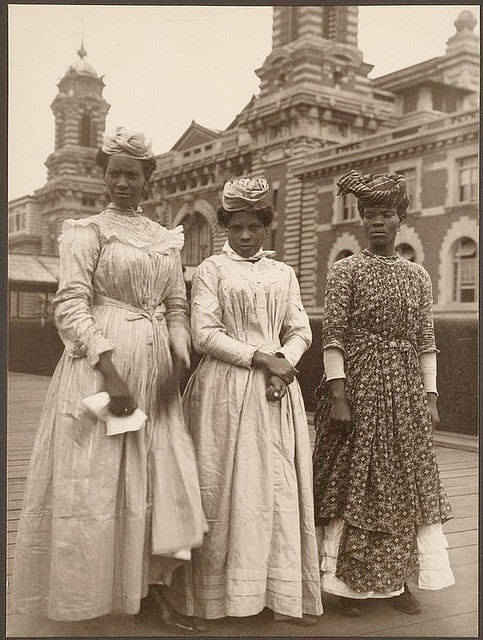 Three women from Guadeloupe, on Ellis Island, about 1910, by Augustus Sherman