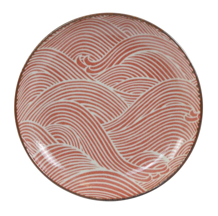 Seigaiha Red Plate 15.5x2.6cm