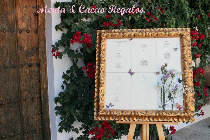 Cartel que hicimos para decir a los invitados cual era su mesa, boda  P & JA .