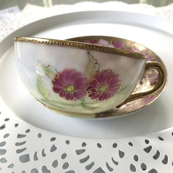 Valentines Day, Unique Tea Cup and Saucer Set, Japanese, Hand Painted, Artist Signed, Moriage Teacup, Engagement Gift for Bride, Gold Pink Well preserved and clean free of cracks, chips and crazing. Traditional gift for the bride to be. Dramatic moriage teacup set is so very