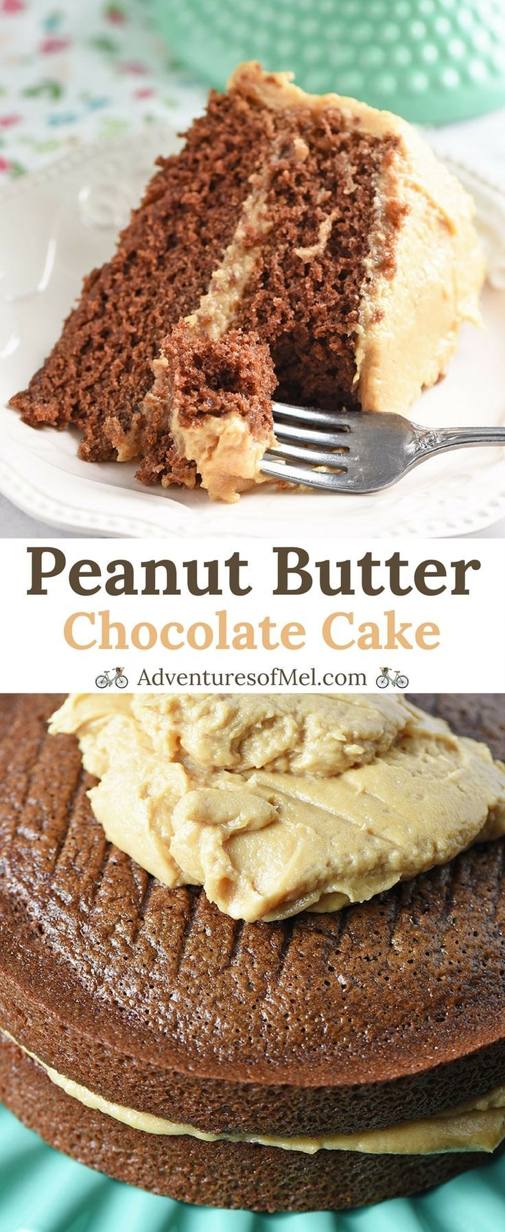 Peanut Butter Chocolate Cake from scratch, layering homemade chocolate cake with a decadent peanut butter cream cheese frosting. Dessert recipe made for chocolate lovers. #chocolate #chocolatecake #peanutbutter #frosting #icing #fromscratch #cake #dessert #chocolatelovers