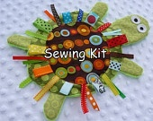 ready to ship- DIY- Yertle the Turtle- Sewing Kit- PDF instructions- Crinkle Crackle Toy- pattern