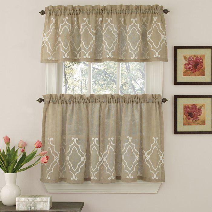 Carlyle Stitched Quatrafoil Kitchen Tier Curtains