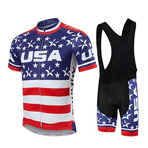 Xinzechen Short Sleeve Cycling Jersey and 3D Padded Bib Shorts Set USA Flag Black Size L ** More info could be found at the image url.Note:It is affiliate link to Amazon.