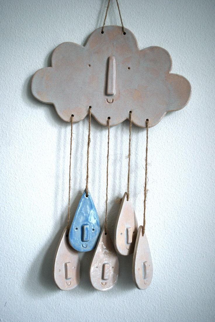 White ceramic cloud and raindrop wall hanging or mobile