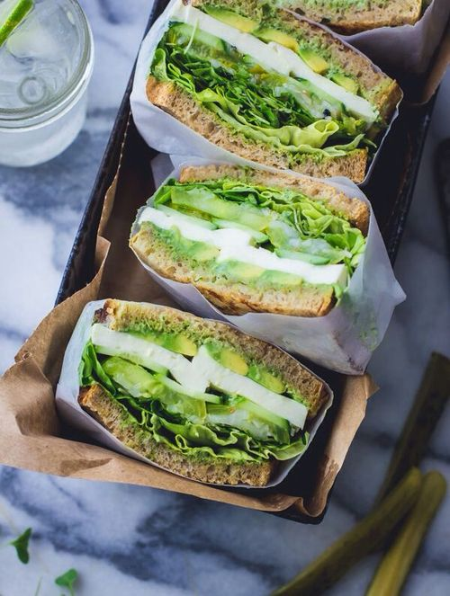 #Green Goddess #Sandwich - with avocado, cucumber, mozzarella, + tomato   vegetarian recipe