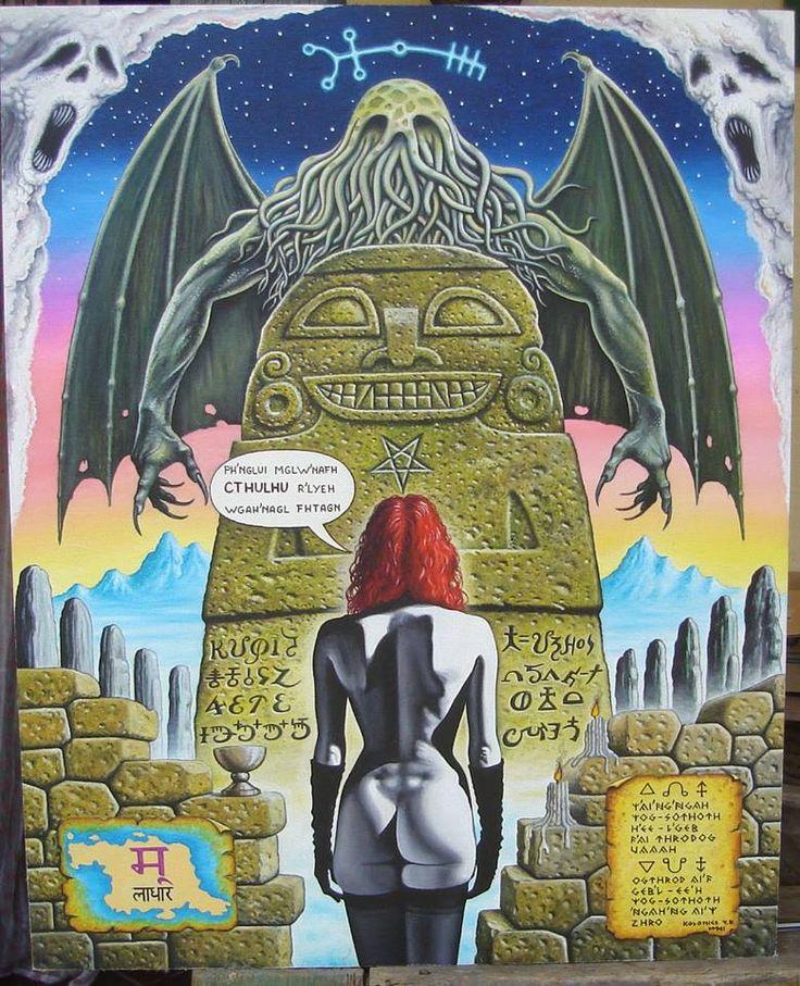"""Cthulhu hívása (Sous le signe d'Algol) Szodoma Zoé Irem elveszett városának legősibb, történelem, sőt ember előtti oszlopai között állva, egy tlavatli szobor titokzatos feliratának segítségével előszólítja Cthulhut, miközben az Algol lassan pályája csúcsára jut, létrehozván ezáltal egy olyan """"konstellációt"""" (égi és földi, evilági és túlvilági együttállást), amely lehetővé teszi, hogy a legalsó csakrában tanyázó tűzkígyó szabad utat kapjon felfelé. Call to Cthulhu (oil painting)"""