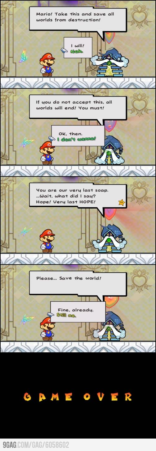 My first Game Over in Super Paper Mario #PaperMario #Nintendo--Mine was when I refused to put the space helmet on XD