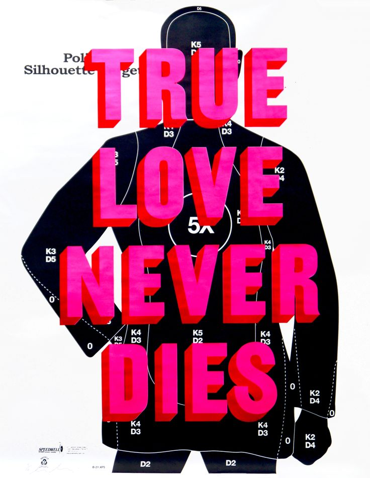 True Love Never Dies - Pink Limited Edition Print from Dave Buonaguidi.      Medium: 3 Colour Screenprint on 100 GSM B21CB Gun Range Target Paper     Edges: Cut     Year: 2016     Edition: 17
