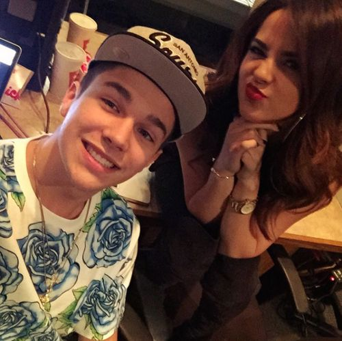 Austin and Becky G in the studio! If your also a fan of Becky G, follow my board of her :)