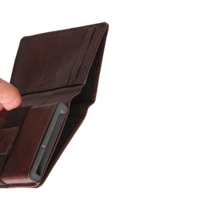 The Parliament Coffee Brown Top View - An ultra-slim trackable wallet that provides instant card access at the click of a button.
