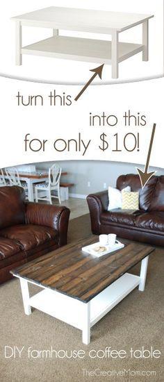 DIY Farmhouse Coffee Table (Ikea Hack) http://www.thecreativemom.com/diy-farmhouse-coffee-table-ikea-hack/