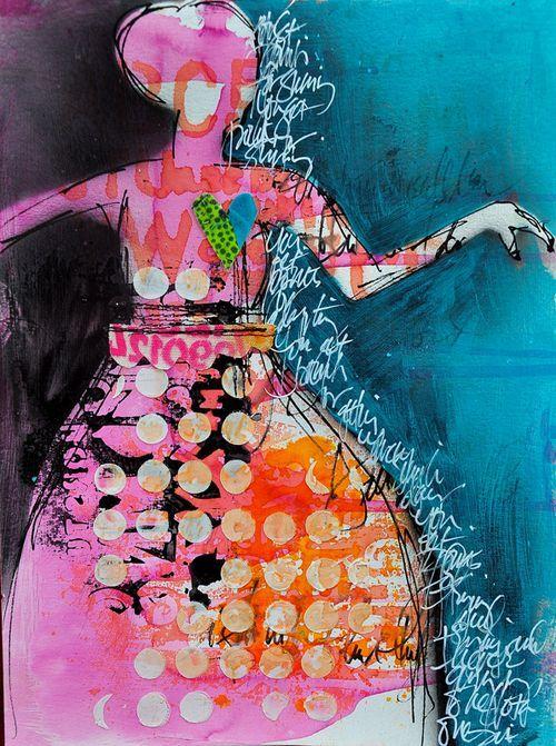 love these girls: Art Mixed, Artists Tutorials, Sprays Ink, Art Inspiration, Reav Sprays, Art Journals Dinawakley, Mixed Media, Art Journaling, Creative Inspiration