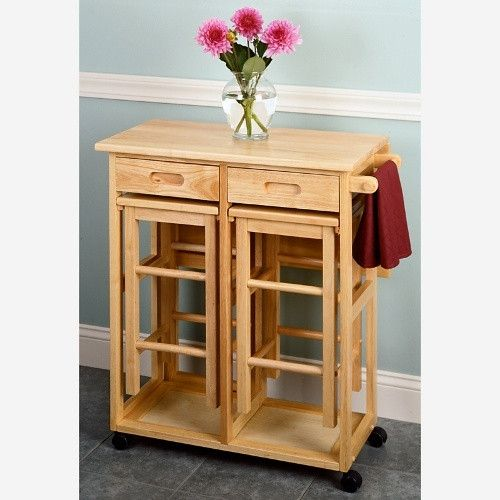 Drop Leaf Table with 2 Square Stools