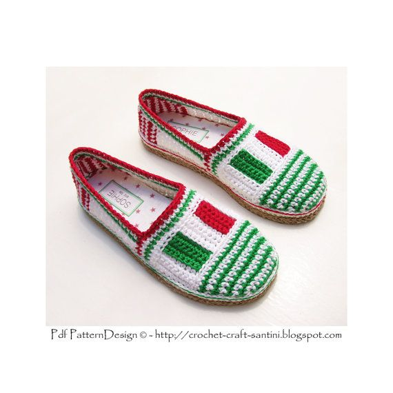 Italian Flag-Tag Slippers/Espadrilles  Basic by PdfPatternDesign