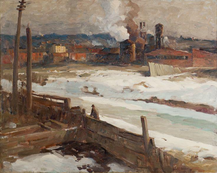 John Fulton Folinsbee, American, Lehigh Canal (formerly Lambertville Factories), 1924-1925, oil on canvas, 2010.10. #palmermuseumofart