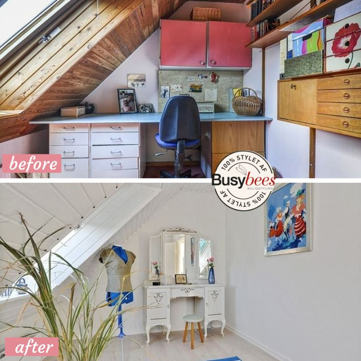 Dark old office turned into a bright airy space ready to sell. Staged by Busy Bees