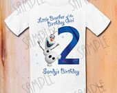 T-shirt Disney FROZEN Iron On Transfer Printable Little Brother of the Birthday Girl Olaf digital download Personalized Frozen Birthday
