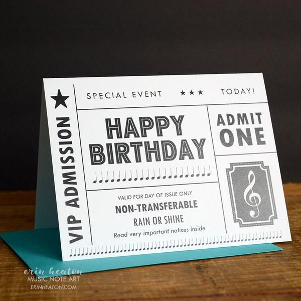 Concert Ticket Birthday Card Birthday Cards Blank Birthday Cards Music Note Birthday