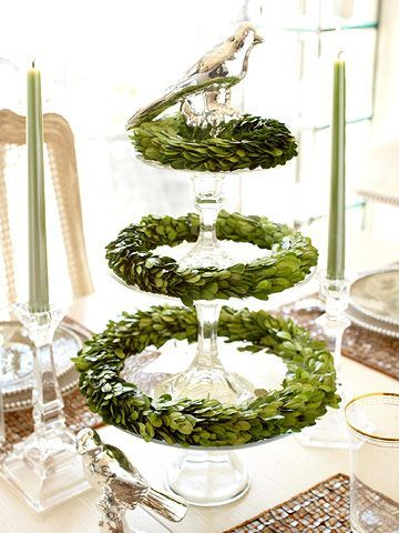 Boxwood Centerpiece: Idea, Christmas Centerpieces, Cakes Plates, Trees, Christmas Decor, Topiaries, Cakes Stands, Wreaths, Cakes Pedestal