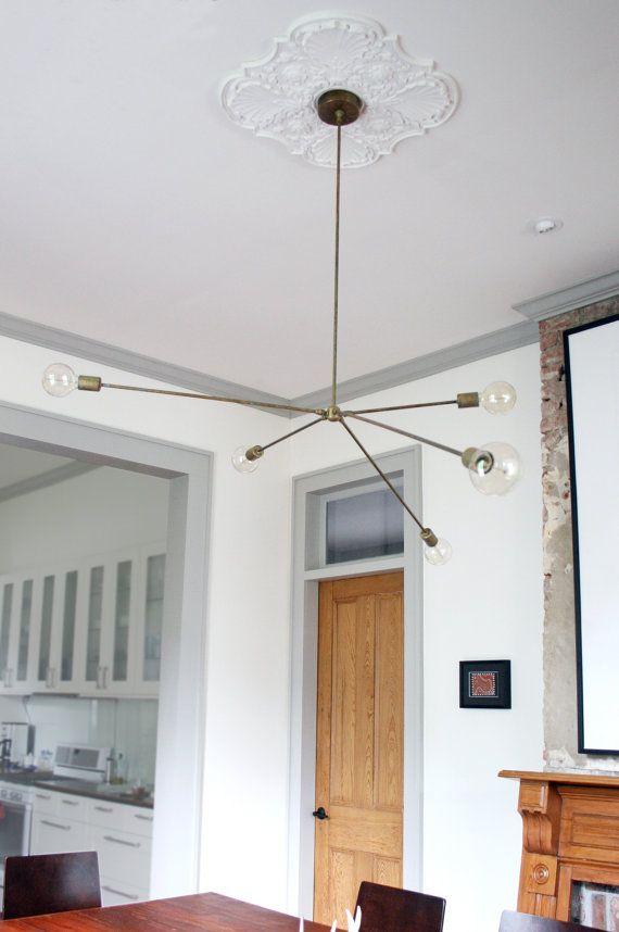 Alva modern brass chandelier for Grey walls white trim