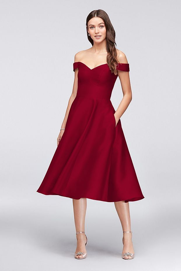 a218d81d4012 Off-the-Shoulder Red Tea-Length Bridesmaid Dress | David's Bridal | winter  wedding, red bridesmaid dress, winter bridesmaid dress, short bridesmaid  dress ...