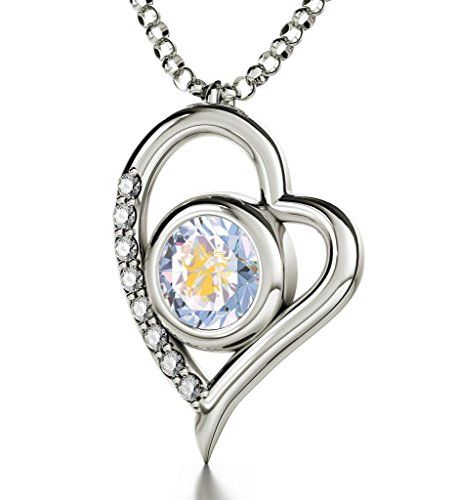 "925 Silver Zodiac Heart Pendant Virgo Necklace Inscribed in 24k Gold on Cloudy Swarovski Crystal, 18"". Silver heart shaped necklace with Virgo star sign and symbol intricately inscribed in 24k Gold using innovative technology onto a brilliant round cut cloudy-opalit colored Swarovski crystal. 0.3 inches, 8mm. A 925 sterling silver, high quality, Italian chain measuring 18 inches, 45cm, elegantly suspends from the romantic heart pendant, 0.8x0.6 inches, 2x1.5cm. Enhanced with 8 crystal cubic…"