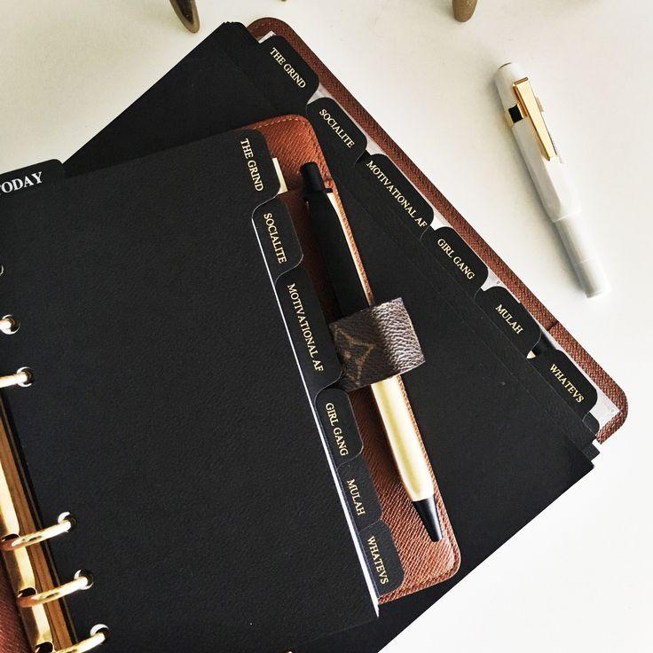 Black Foiled dividers inside an Louis Vuitton Desk Agenda |Monogram LV DA.  I love this planner  www.clothandpaperco.com