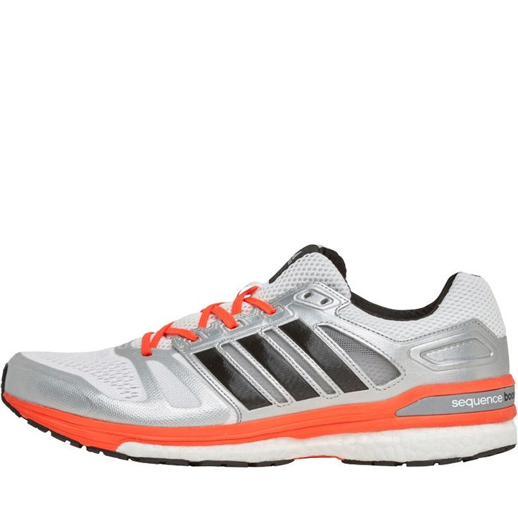 adidas Mens Supernova Sequence 7 Boost Stability Running Shoes White/Black/Solar Red