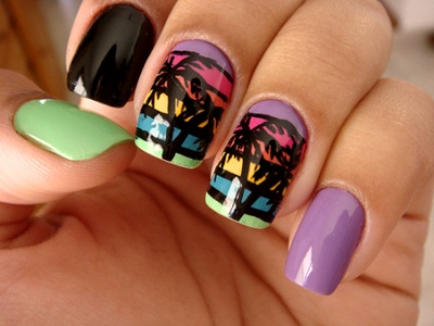 Some way some how lol: Nails Art, Nails Design, Nailart, Palms Trees Nails, Nailsart, Beaches Nails, Palm Trees, Summer Nails, Naildesign