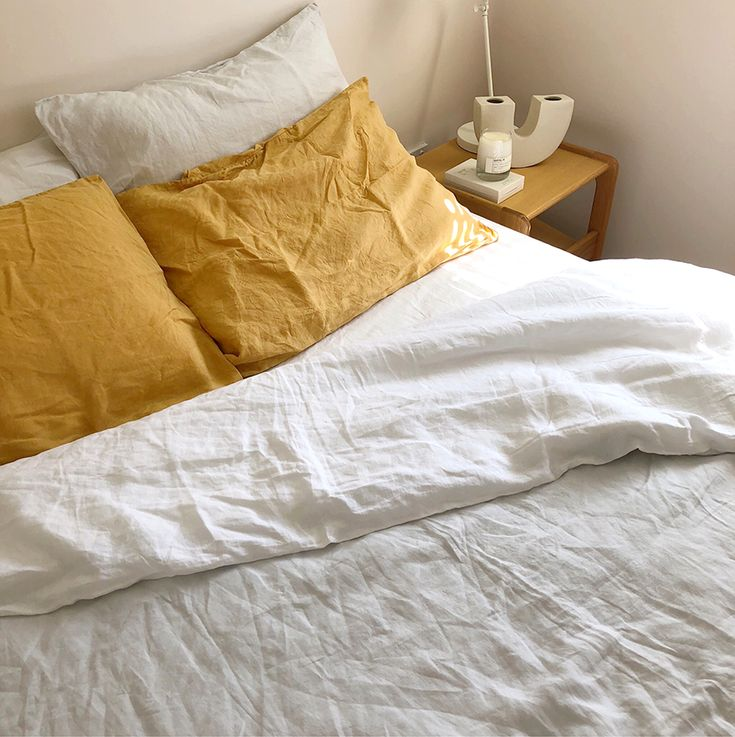 100% Stonewashed Linen Pillowslips in Mustard