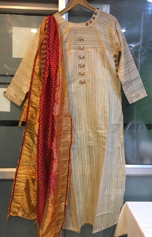 Bollywood Designer Linen Long Kameez Dabka Embroidery Indian Salwar Dress L XL  | eBay