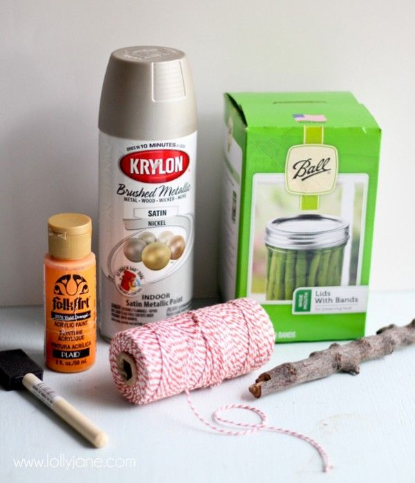 Supplies to make a cute faux-aged canning ring pumpkin