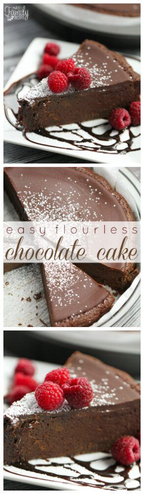 This Easy Flourless Chocolate Cake is so easy to make! It is light and decadent with rich chocolate flavor and a smooth chocolate ganache. #flourlesschocolatecake #glutenfreecake via @favfamilyrecipz