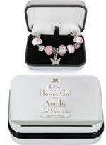 Unique and special personalised flowergirl gifts for a perfect wedding day thank you. Cute personalised chocolates, mugs, trinket pots and bracelets.
