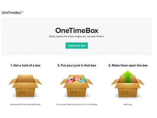 OneTimeBox, free site to create a folder for sharing files online