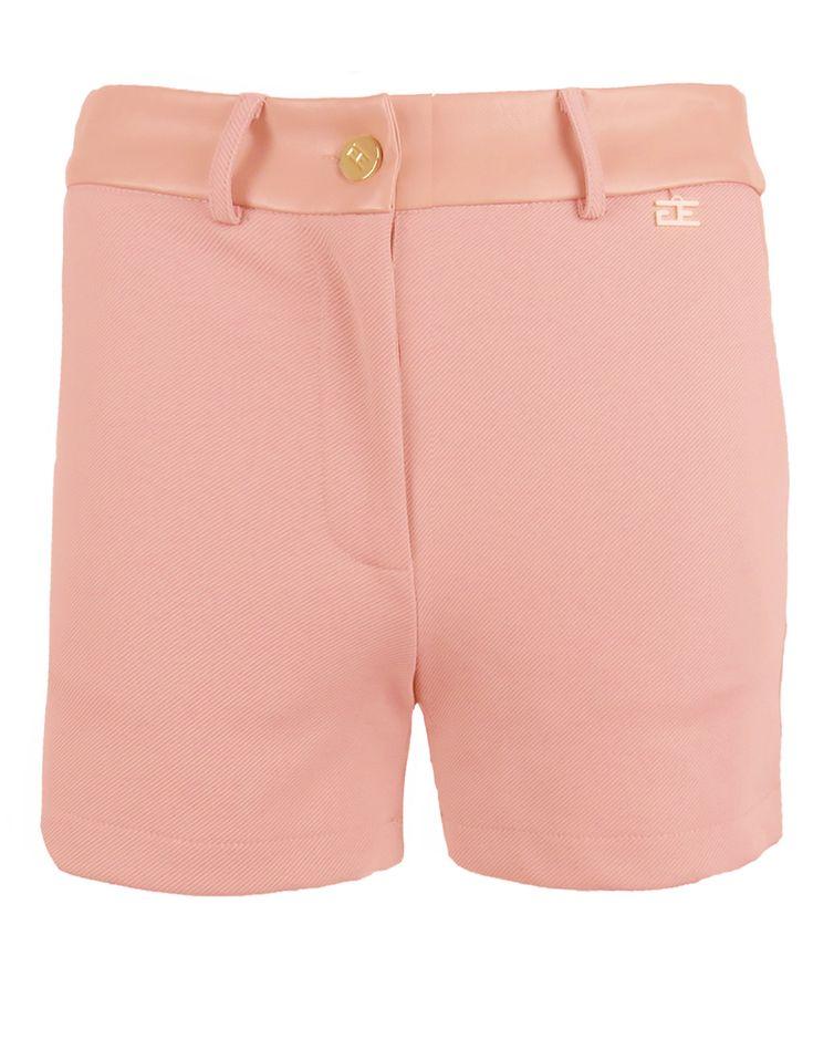 Goldie Estelle dames short oud zalm roze - Comfortabele short met stretchstof. Rond de heup is het model versierd met leder look stof. Dankzij de riemlusjes kan het item eventueel met een riem gedragen worden.