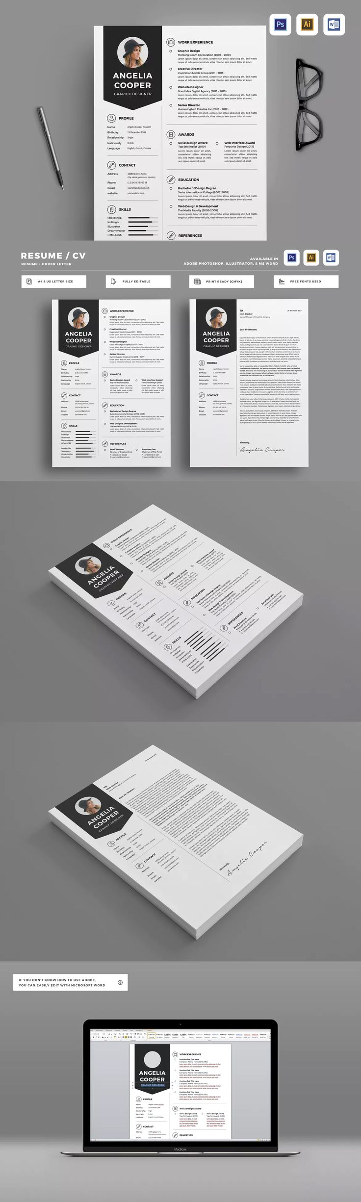 Resume Templates AI EPS PSD 98 best
