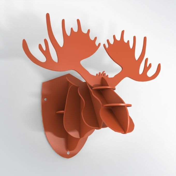 PVC Hunting Trophy - Orange Moose Antlers. Made from PVC foam, cnc cutted. Also available in baltic birch plywood. Designed and made in Québec, by dezz.xyz.
