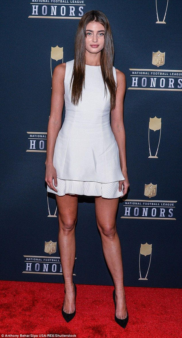 Vision in white:Taylor Hill, 21, commanded attention on the red carpet at the NFL Honors ...